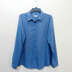 Orvis Blue Everyday Silk Button Down Shirt M